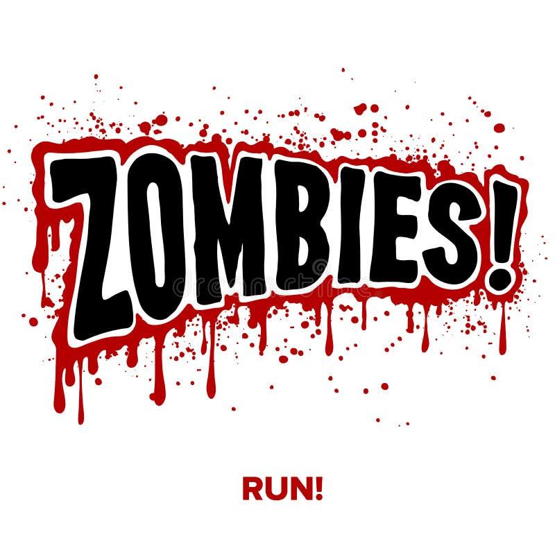 Texto del zombi ilustración del vector