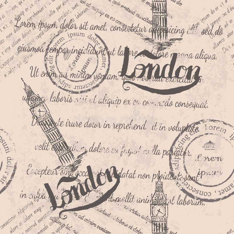 Texto descolorado, sellos, ben grande, poniendo letras al modelo inconsútil de Londres libre illustration