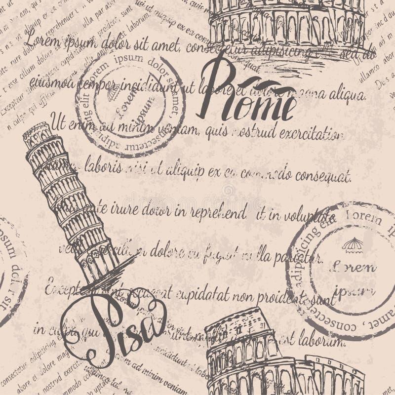 Texto descolorado, sellos, coliseo, poniendo letras a Roma, torre inclinada de Pisa, poniendo letras a Pisa, modelo inconsútil stock de ilustración