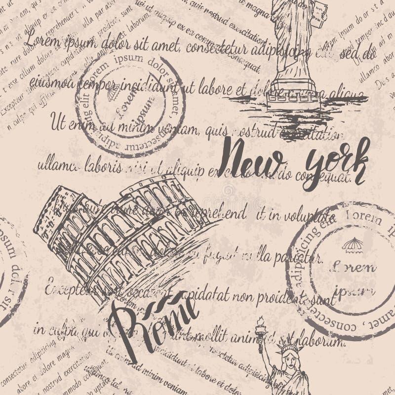 Texto descolorado, sellos y la estatua de la libertad con poner letras a Nueva York, coliseo, poniendo letras a Roma, modelo inco ilustración del vector