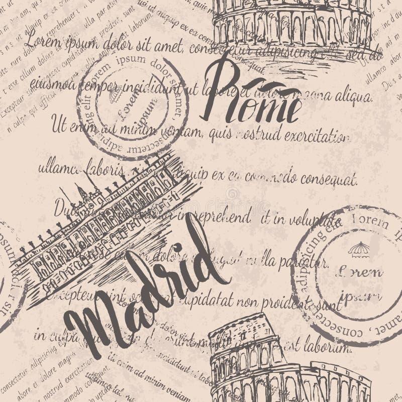 Texto desvanecido, selos, coliseu, rotulando Roma, Royal Palace do Madri, rotulando o Madri, teste padrão sem emenda ilustração do vetor