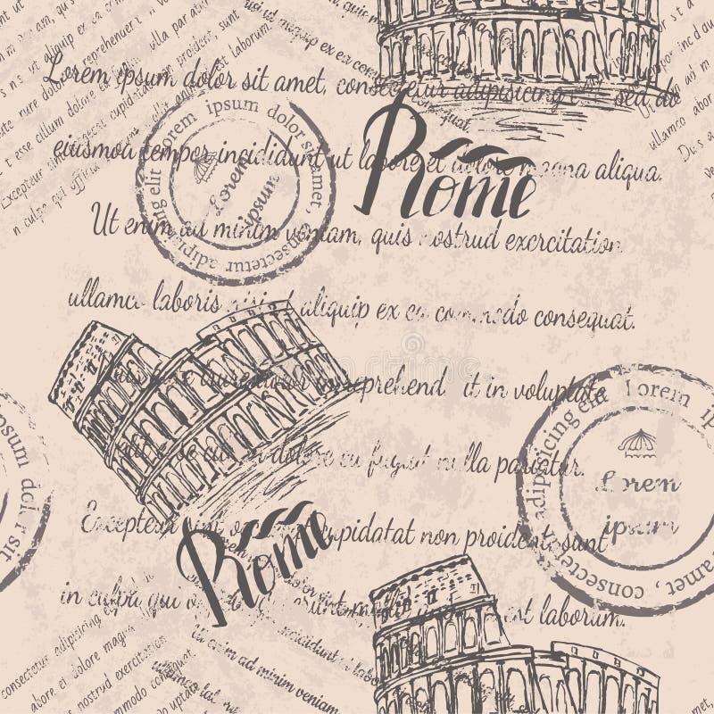 Texto desvanecido, selos, coliseu, rotulando Roma, teste padrão sem emenda ilustração royalty free