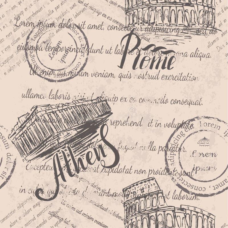 Texto desvanecido, selos, coliseu tirado mão, rotulando Roma, acrópole tirada mão de Atenas, rotulando Atenas, teste padrão sem e ilustração stock