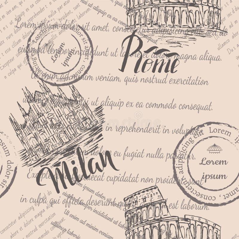Texto desvanecido, selos, coliseu tirado mão, rotulando Roma, Milan Cathedral tirado mão, rotulando Milão, teste padrão sem emend ilustração royalty free