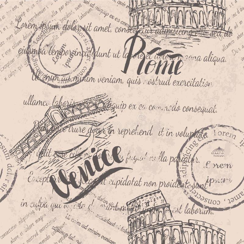 Texto desvanecido, selos, coliseu tirado mão, rotulando Roma, a ponte de Rialto, rotulando Veneza ilustração stock