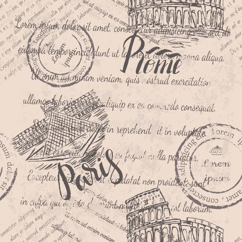Texto desvanecido, selos, coliseu tirado mão, rotulando Roma, mão tirada o Louvre, rotulando Paris, teste padrão sem emenda ilustração do vetor