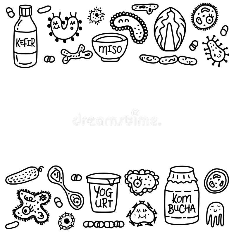 Texto determinado de la plantilla de la medicina de la comida de las bacterias de Probiotics stock de ilustración