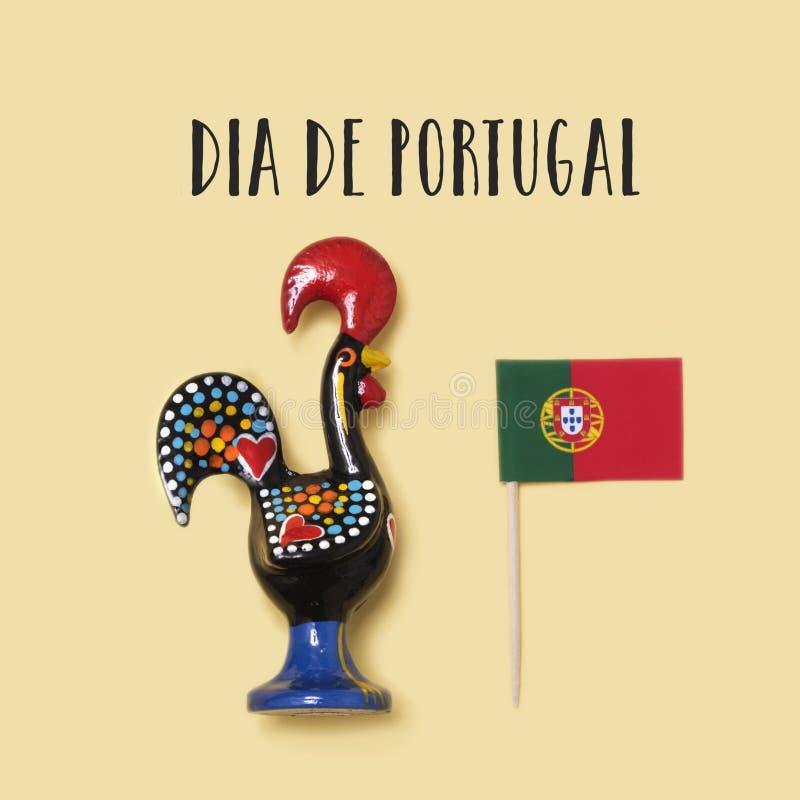 Texto Dia de Portugal, o dia nacional de Portugal fotografia de stock