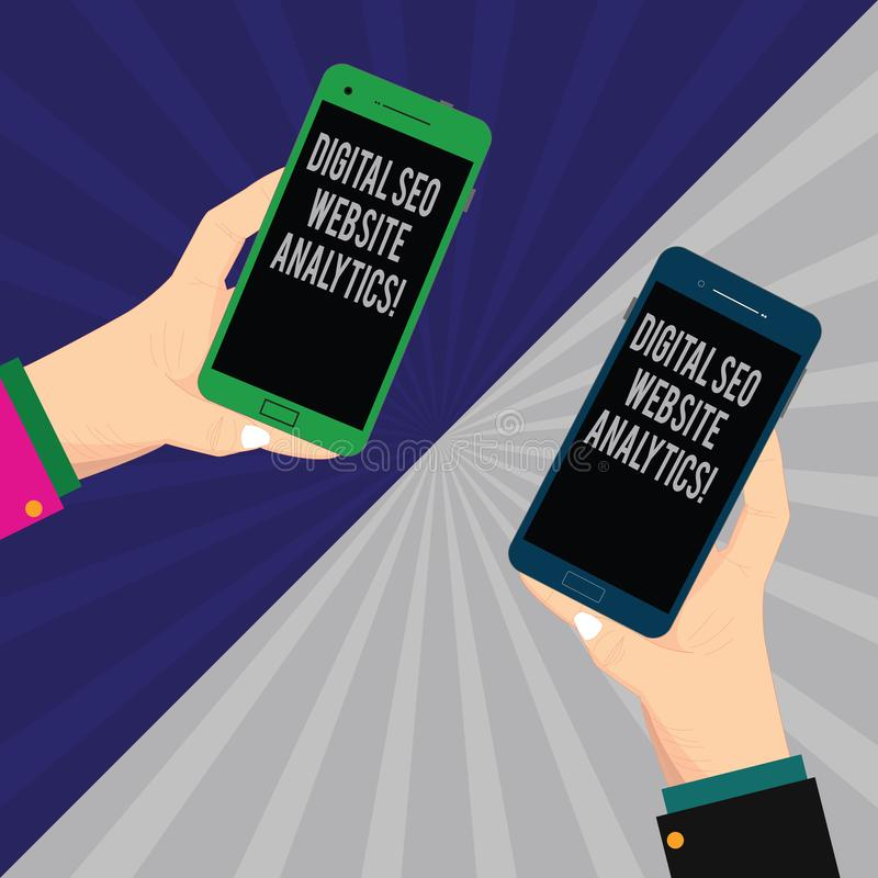 Texto Digital Seo Website Analytics da escrita da palavra Conceito do negócio para a estratégia em linha dois Hu da otimização do ilustração royalty free