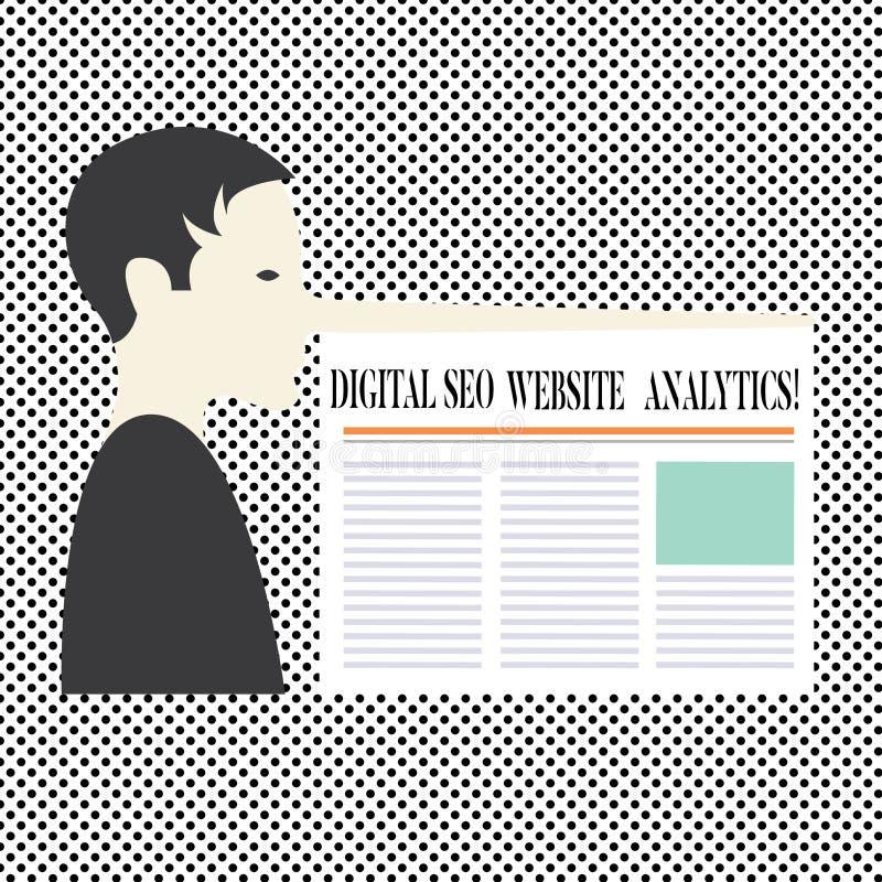 Texto Digital Seo Website Analytics da escrita da palavra Conceito do negócio para o homem em linha da estratégia da otimização d ilustração do vetor