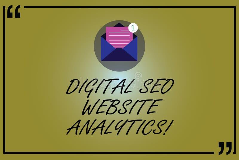 Texto Digital Seo Website Analytics da escrita da palavra E ilustração do vetor