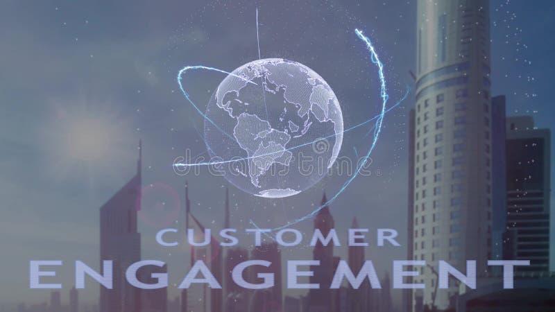 Texto do acoplamento do cliente com holograma 3d da terra do planeta contra o contexto da metr?pole moderna ilustração stock