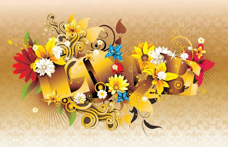 Texto do amor 3d ilustração royalty free