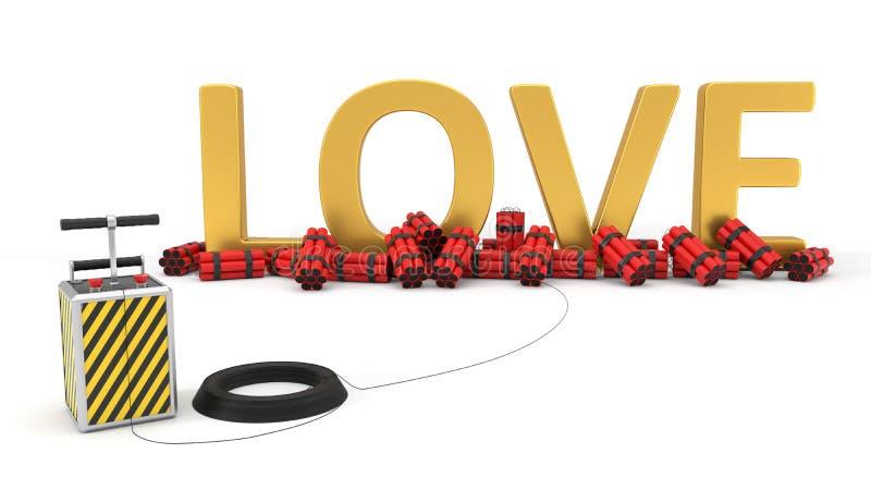 Texto do amor com bloco e detenator da dinamite ilustração 3D ilustração royalty free