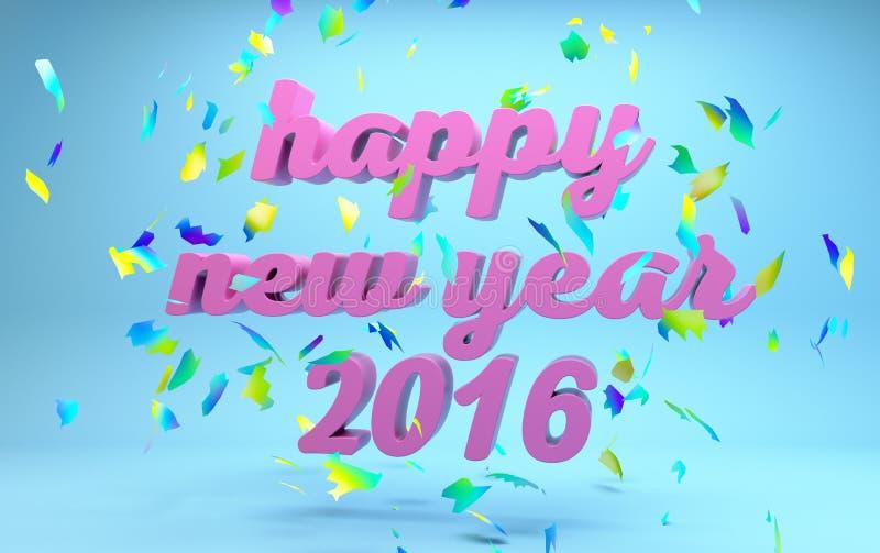Texto do ano novo feliz 2016 ilustração stock