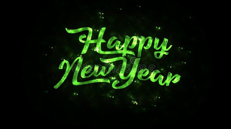 Texto do ano novo feliz com sparkles brilhantes ilustração royalty free