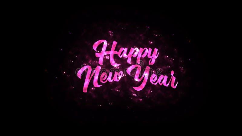 Texto do ano novo feliz com sparkles brilhantes ilustração stock