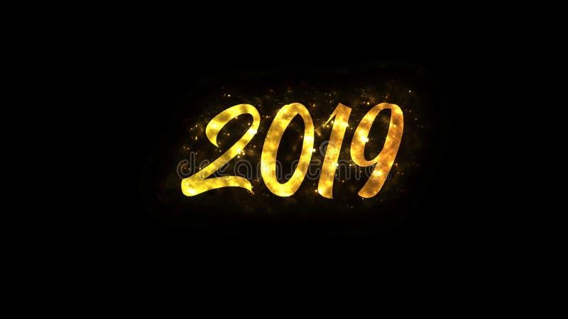 Texto do ano novo feliz com sparkles brilhantes ilustração do vetor