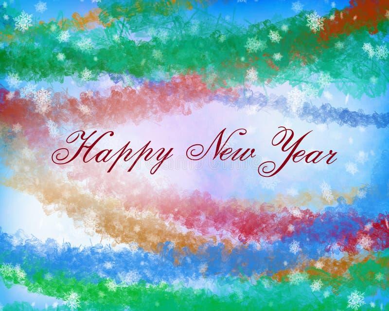 Texto do ano novo feliz na luz - azul, cor amarela e vermelha verde ilustração stock