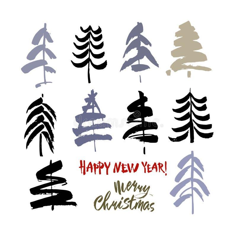 Texto do ano novo feliz Texto do Feliz Natal Caligrafia da escova do preto e da cor no fundo branco com as árvores de Natal abstr ilustração royalty free