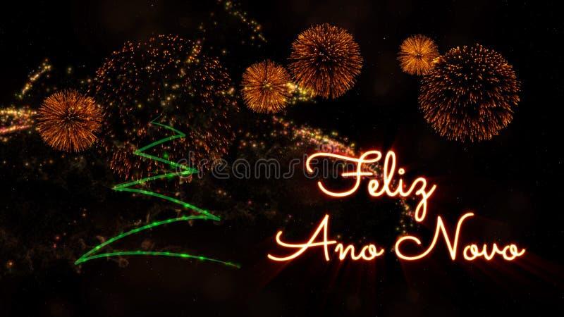 Texto do ano novo feliz no português 'Feliz Ano Novo' sobre o pinheiro e os fogos de artifício imagens de stock