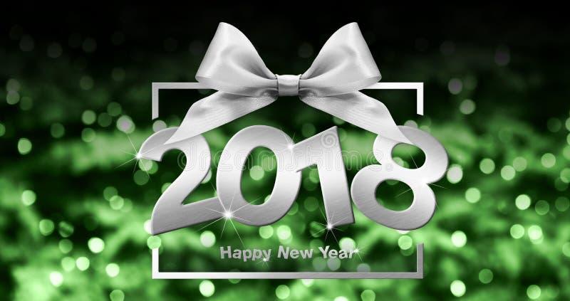 Texto do ano novo feliz no quadro de caixa com curva de prata da fita no verde ilustração stock