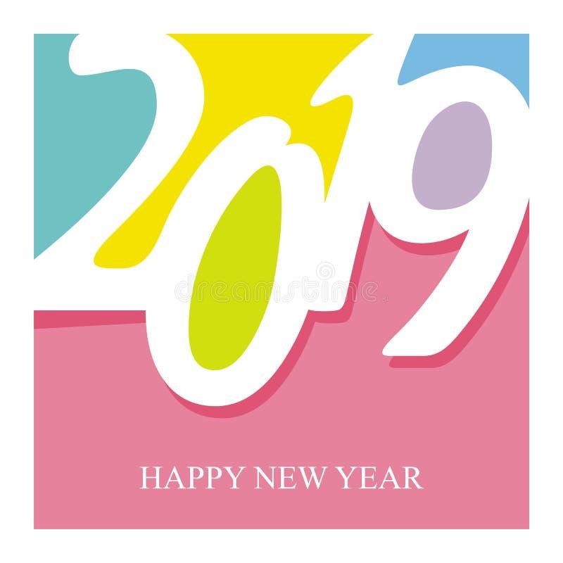 texto do ano 2019 novo feliz - projeto do número ilustração stock