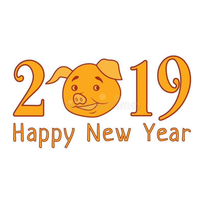 Texto do ano novo feliz do vetor 2019 com porco engraçado Símbolo chinês do ano Elemento do projeto para o cartão, calendário ilustração stock
