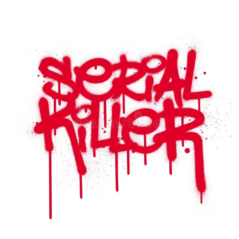 Texto do assassino em série Graffiti com fugas em vermelho sobre branco ilustração do vetor