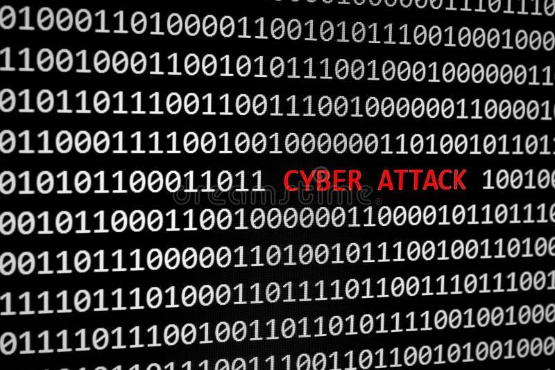 Texto do ataque do código binário e do cyber