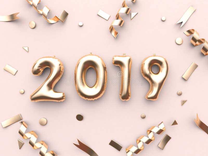 texto 2019 do balão da rendição 3d/número e fundo cor-de-rosa metálico da fita do ouro ilustração royalty free