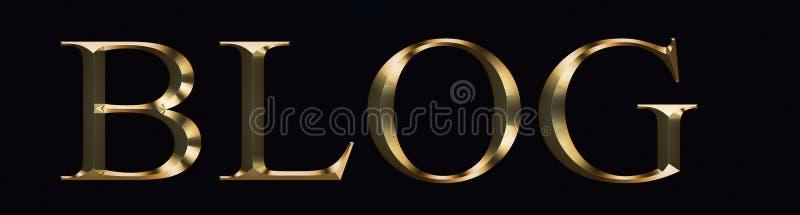 Texto do blogue feito no ouro no fundo preto Fonte festiva brilhante do ouro do partido imagem de stock royalty free
