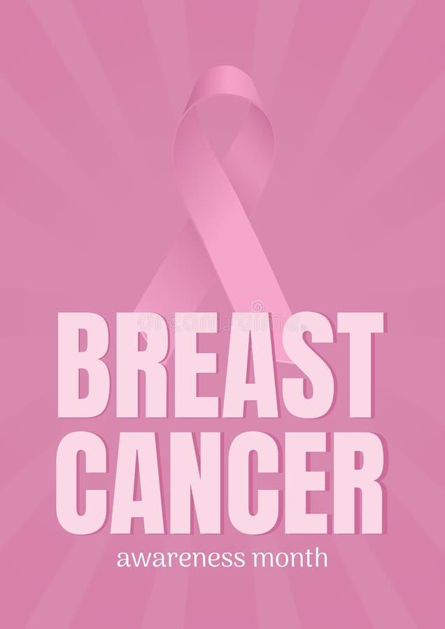 Texto do câncer da mama e fita cor-de-rosa ilustração royalty free