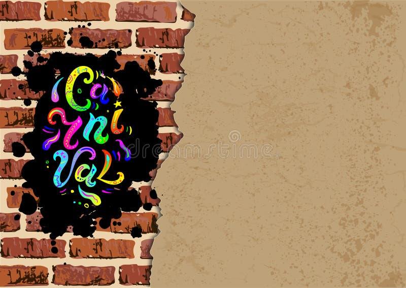 Texto do carnaval no fundo da parede de tijolo com folha do papel ilustração stock