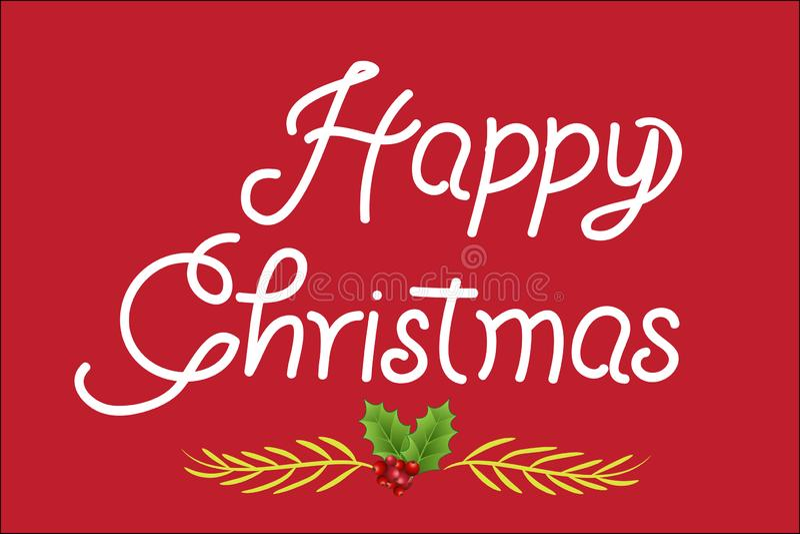 Texto do cartão de cumprimentos do Natal no vermelho ilustração stock