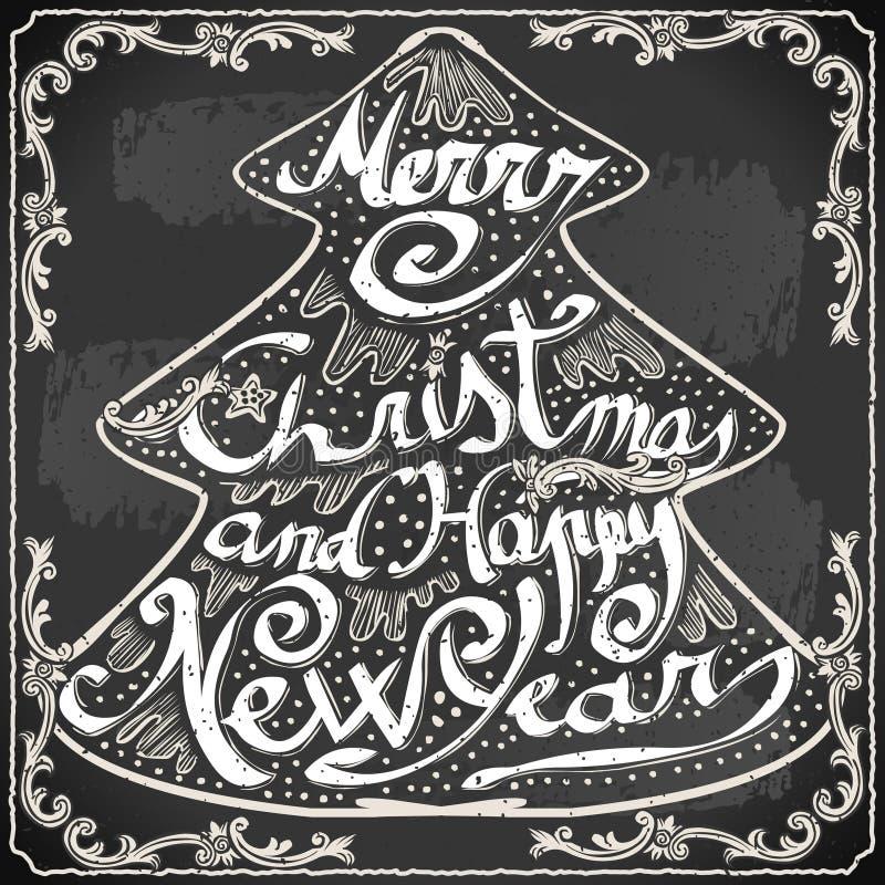 Texto do cartão do vintage em um quadro-negro ilustração do vetor