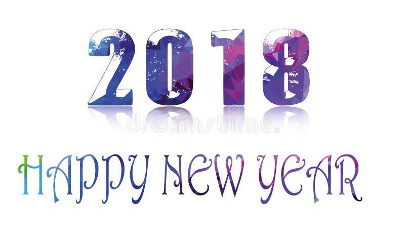 Texto 2018 do conceito do ano novo feliz da bandeira na forma geométrica ilustração do vetor