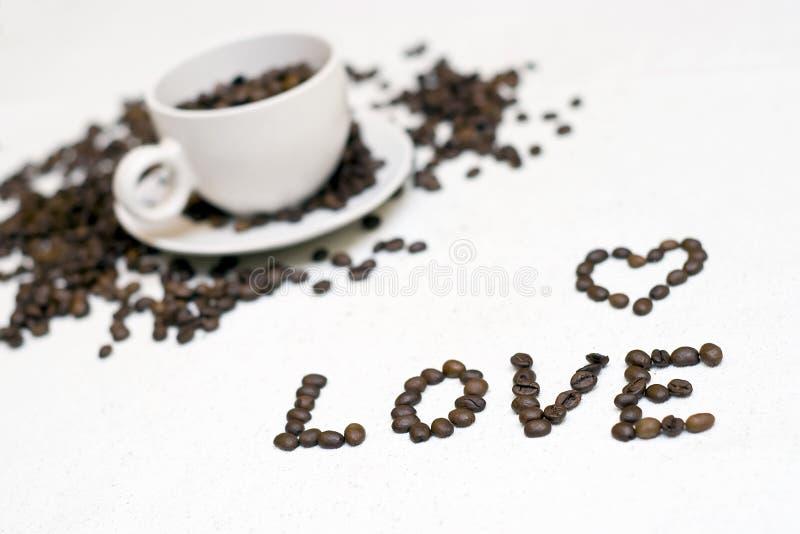Texto do copo de café - ?amor? fotos de stock