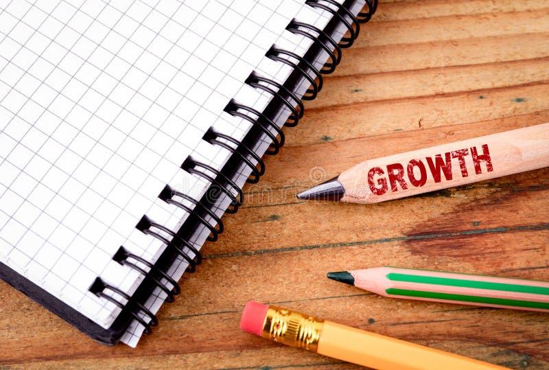 Texto do crescimento no lápis Conceito do sucesso de negócio imagem de stock