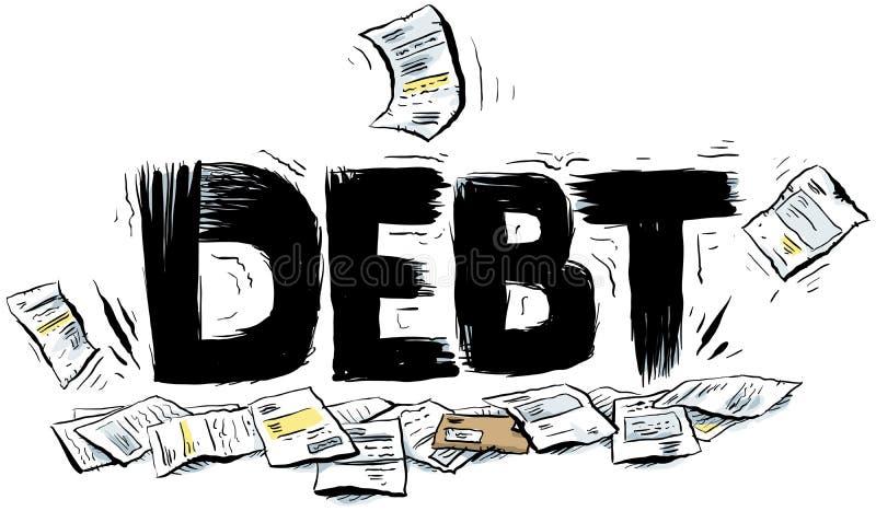 Texto do débito ilustração stock
