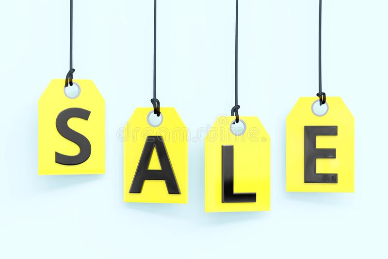 Texto do ` da venda do ` em etiquetas amarelas ilustração stock