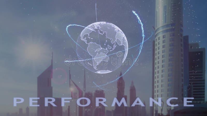 Texto do desempenho com holograma 3d da terra do planeta contra o contexto da metr?pole moderna imagens de stock royalty free