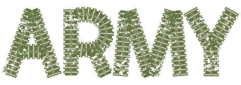 Texto do exército com as letras feitas de trilhas do tanque ilustração do vetor