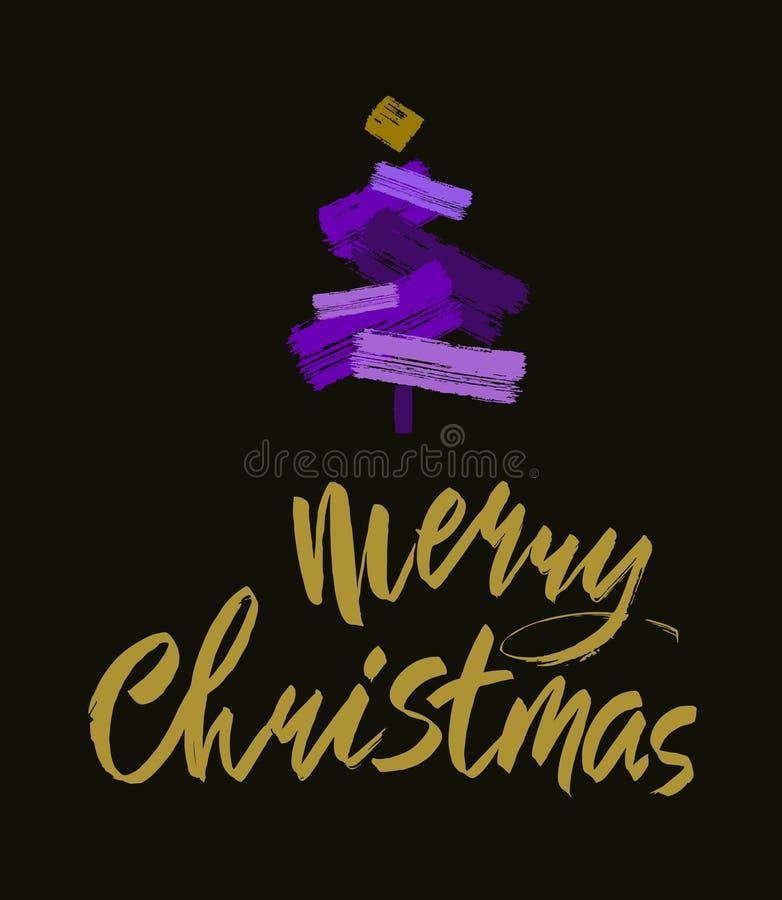 Texto do Feliz Natal Caligrafia da escova do ouro no blackbackground preto com a árvore de Natal abstrata ilustração royalty free