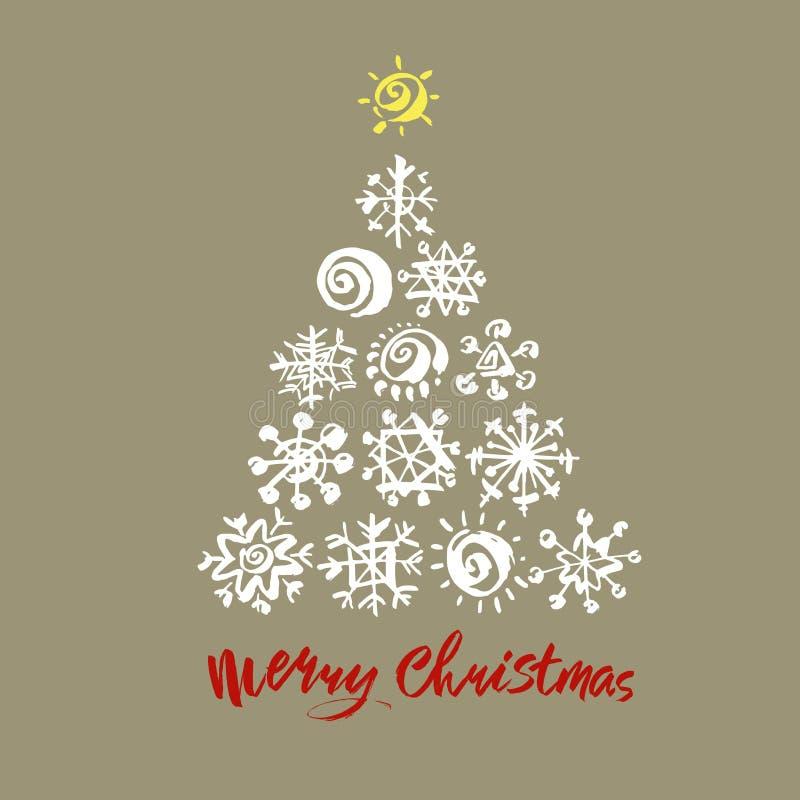 Texto do Feliz Natal Caligrafia preta, branca e vermelha da escova no fundo cinzento com a árvore de Natal abstrata ilustração stock