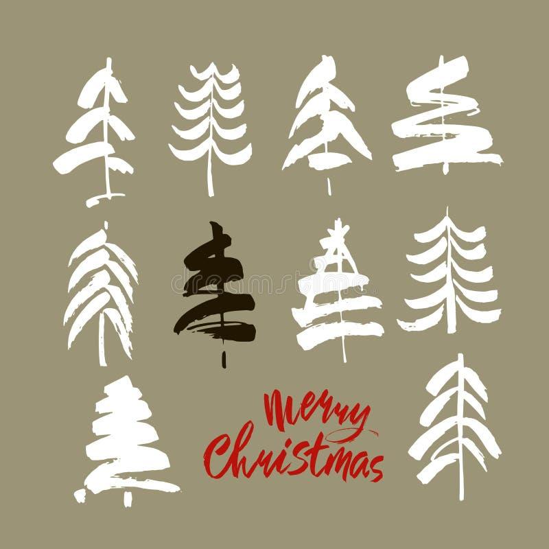 Texto do Feliz Natal Caligrafia preta, branca e vermelha da escova no fundo cinzento com as árvores de Natal abstratas ilustração do vetor