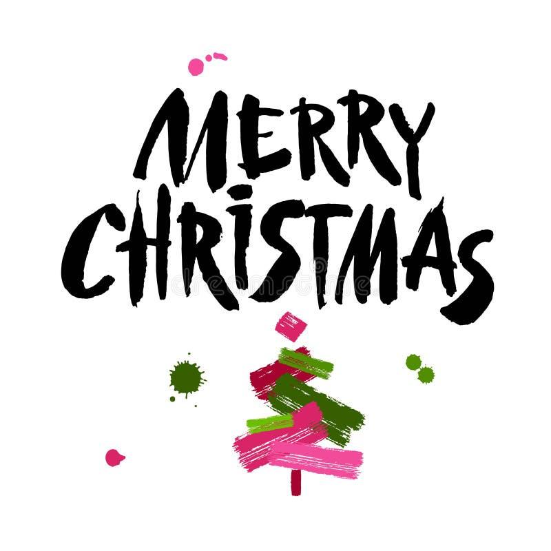 Texto do Feliz Natal Caligrafia preta da escova no fundo branco com a árvore de Natal abstrata ilustração stock