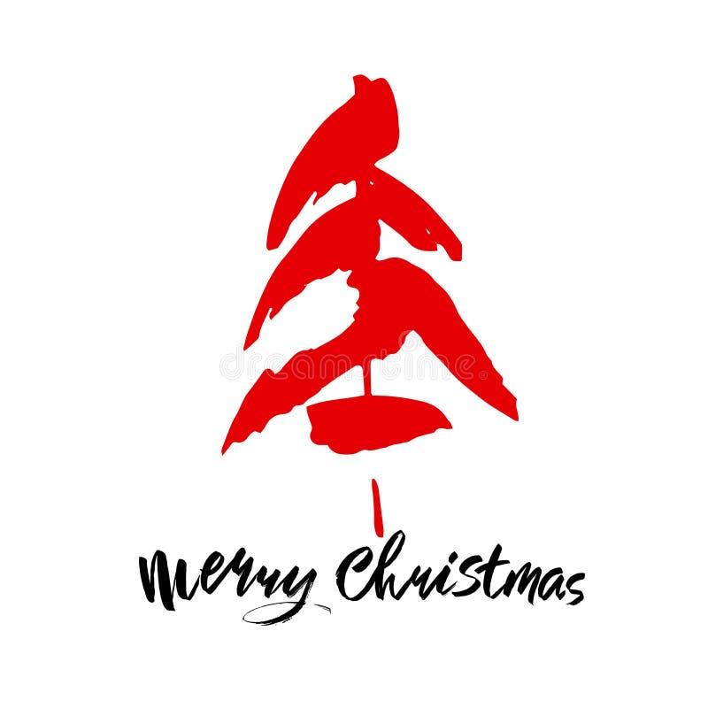 Texto do Feliz Natal Caligrafia preta e vermelha da escova no fundo branco com a árvore de Natal abstrata ilustração royalty free