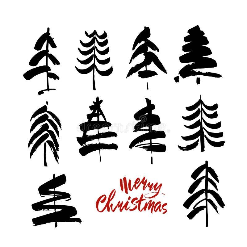 Texto do Feliz Natal Caligrafia preta e vermelha da escova no fundo branco com as árvores de Natal abstratas ilustração royalty free