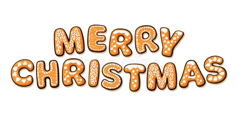 Texto do Feliz Natal composto de cookies do pão-de-espécie Letras tiradas mão dos desenhos animados Ilustração do vetor ilustração do vetor